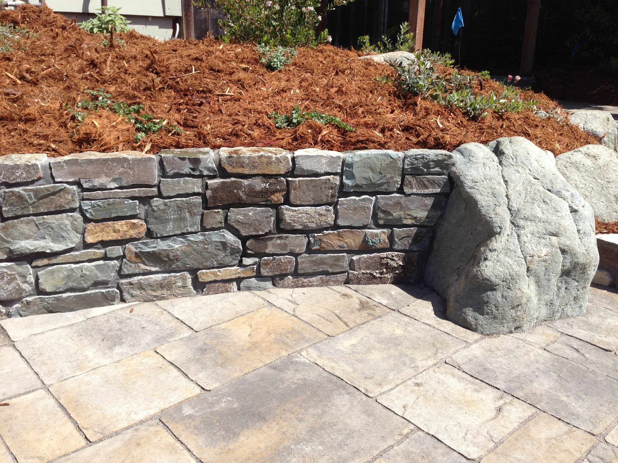 Boulder and Stone Wall.JPG