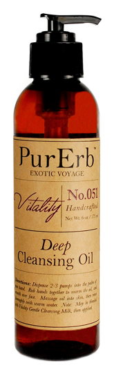 PurErb Vitality Deep Cleansing Oil - If my skin is feeling dehydrated I use this moisturizing cleansing oil and wipe it off with which hazel.