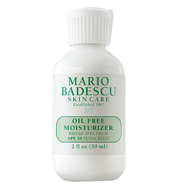 Mario Badescu Oil Free Moisturizer - This moisturizer protects against sun damage, doesn't clog my pores, and contains green tea extract, a great antioxidant!