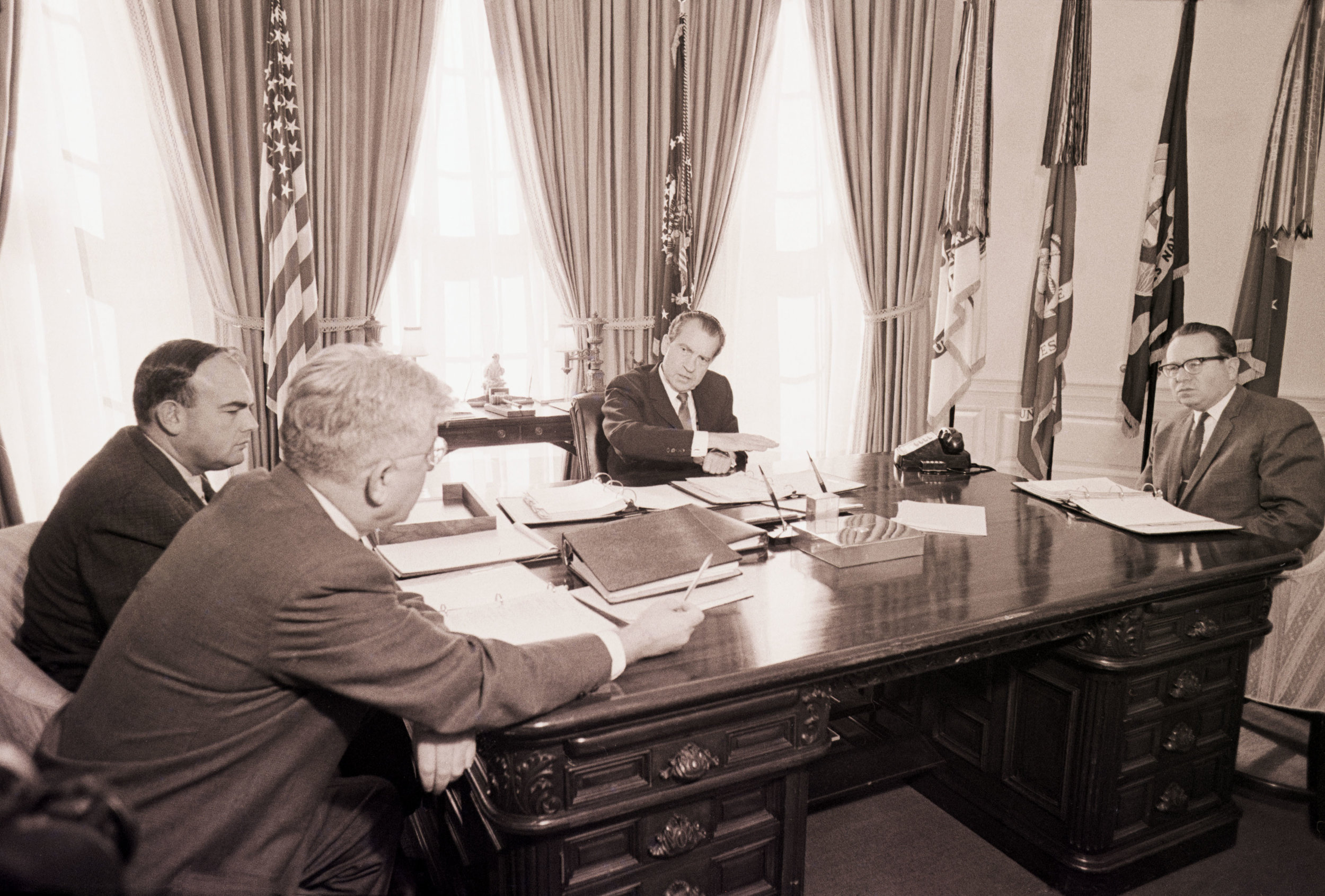 John Ehrlichman, second from left, in the White House in 1969.