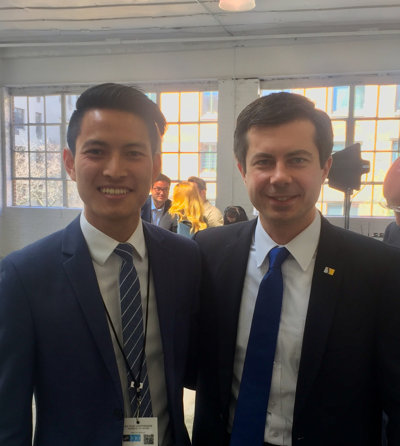 Matt Nguyen with South Bend Mayor and U.S. presidential candidate, Pete Buttigieg.