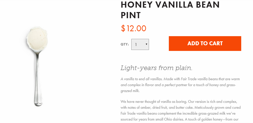 Jeni's  Honey Vanilla Bean  copy gets started with an attention getting line that's in a larger italicized font.