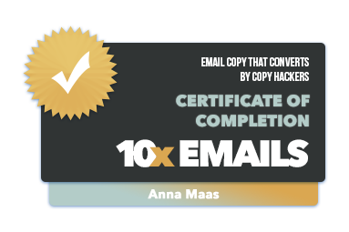 10x Emails Copy Hackers Certificate