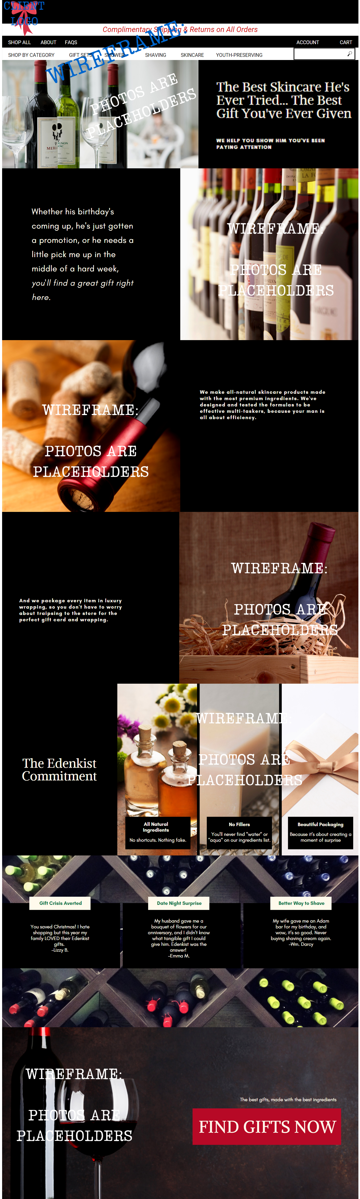 Homepage Mock-Up for Luxury, All-Natural Skin Care Startup -