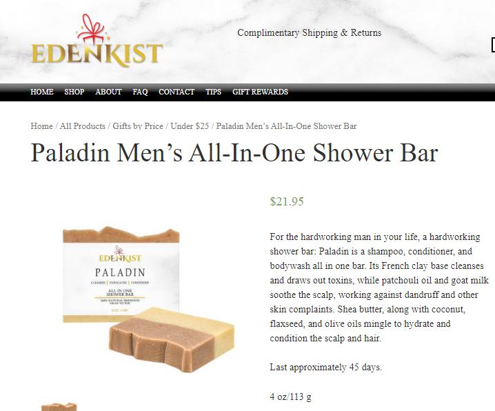 Edenkist Shower Bar Product Description CPG Skin Care Copywriter Portfolio.PNG