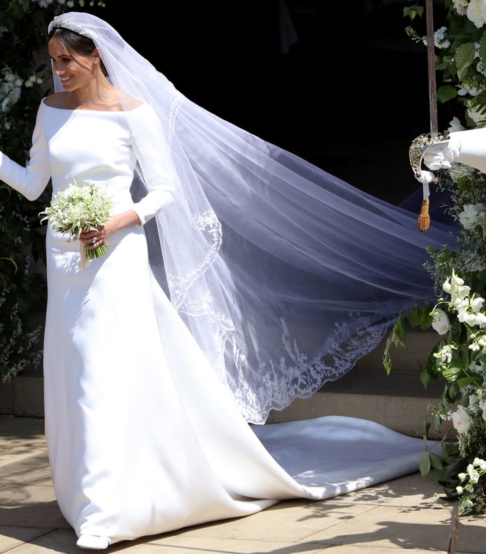 We couldn't talk about a Royal Cathedral Wedding Veil without mentioning an actual royal ;) Her veil ran longer than a traditional Royal Cathedral veil, but what else would you expect!?