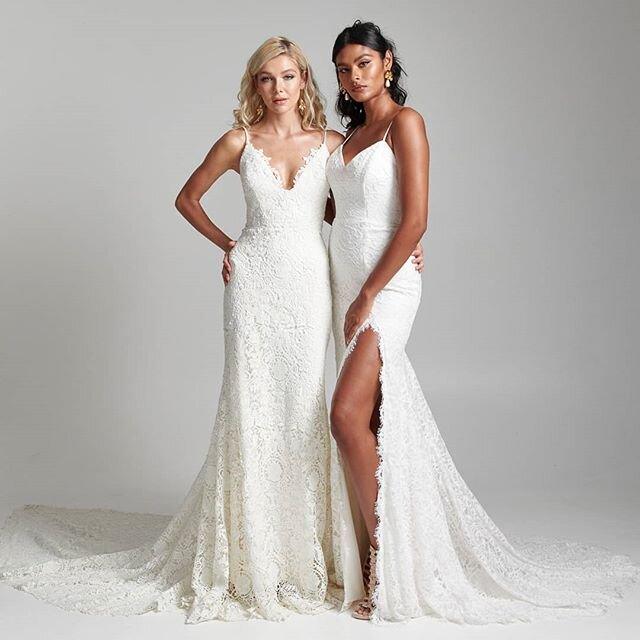 Lace wedding dresses with open backs are available at Arizona bridal shop, Neue Bride in Mesa, Arizona!