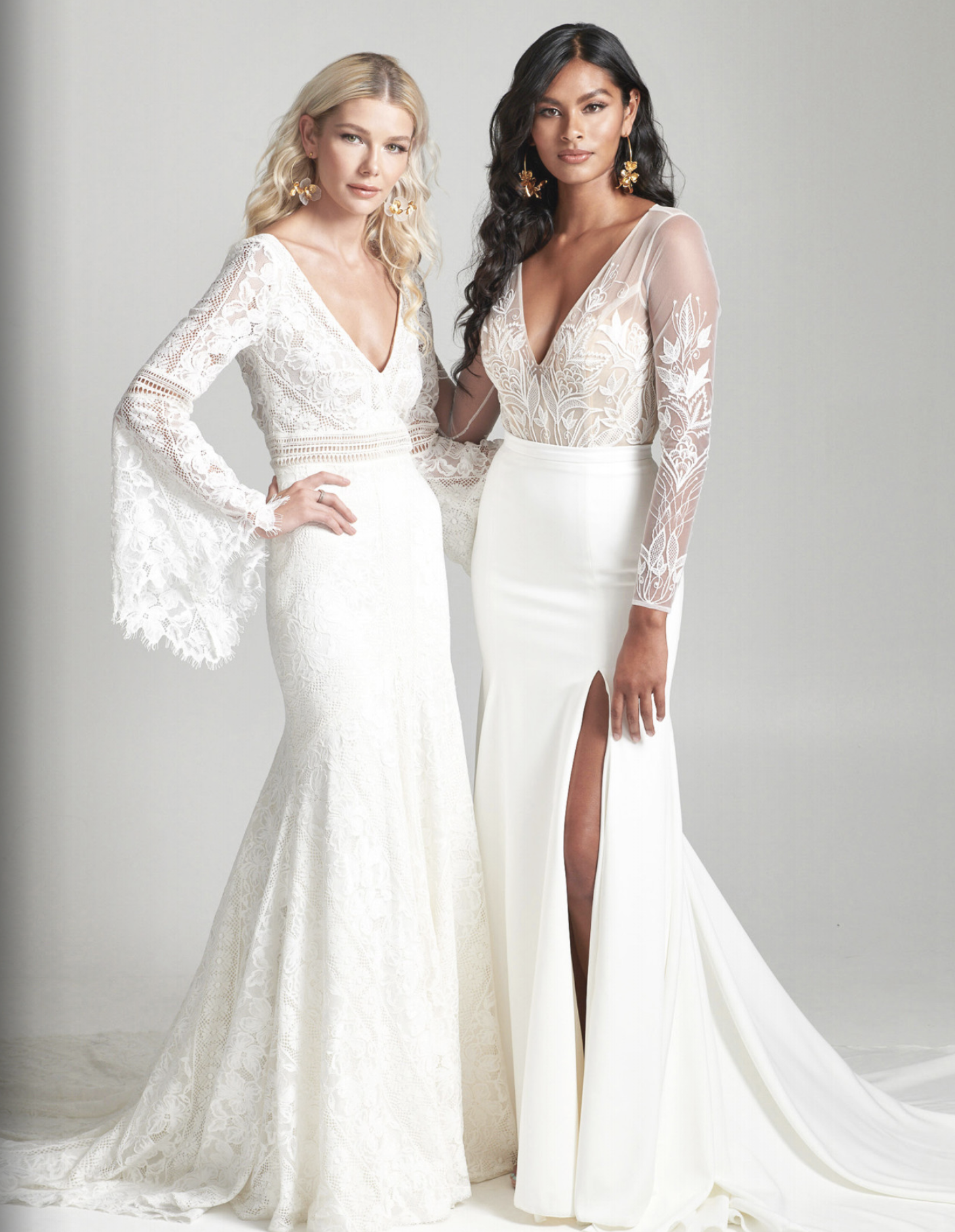 The Rebecca Schoneveld 2020 bridal collection is available at Arizona bridal shop, Neue Bride in Mesa, Arizona! Come shop for the boho lace bell sleeve Jasper gown and the boho open back Vieques bodysuit skirt combination.