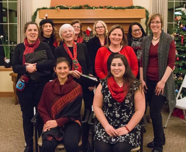 Singers in St. Johns Women's Choir at December 2017 community concert at Assumption Village.