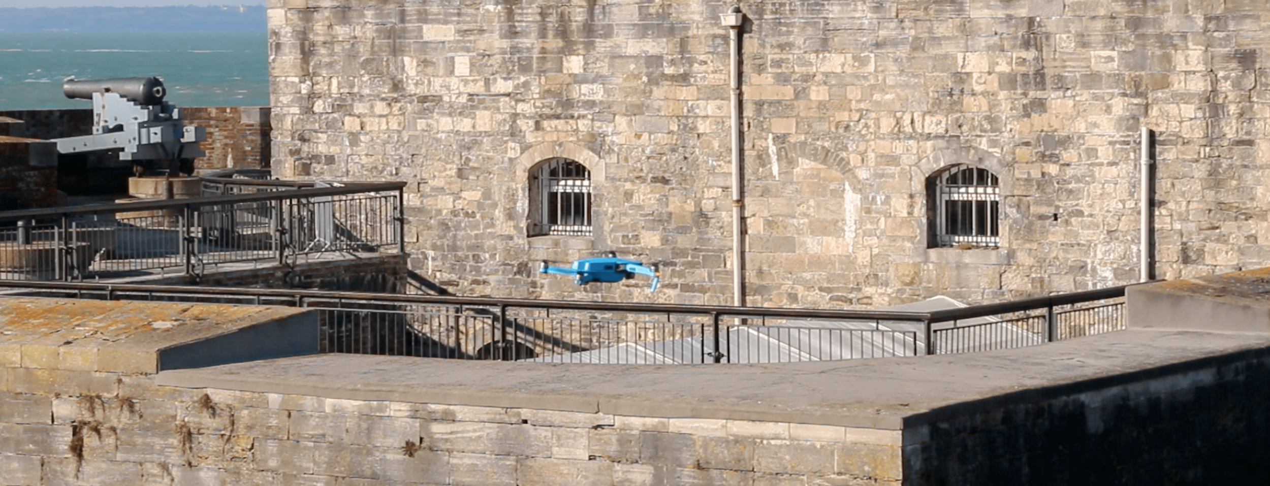 ONE OF OUR DRONES NEAR SOUTHSEA CASTLE, BRANDED IN  SOLENT SKY SERVICES BLUE !
