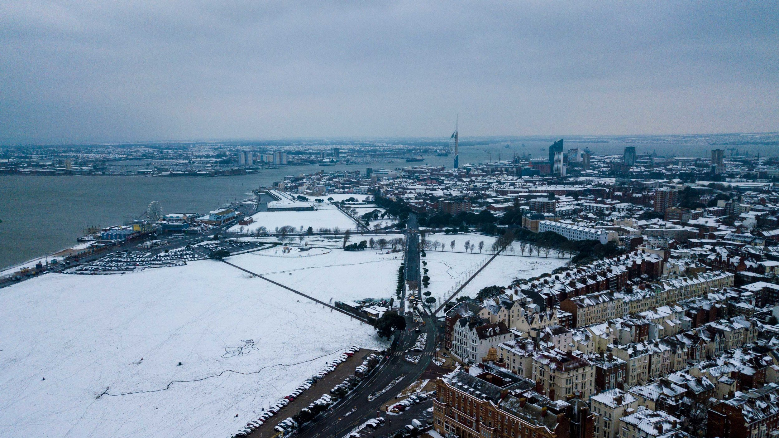 Portsmouth aerial photography - snow day 2018