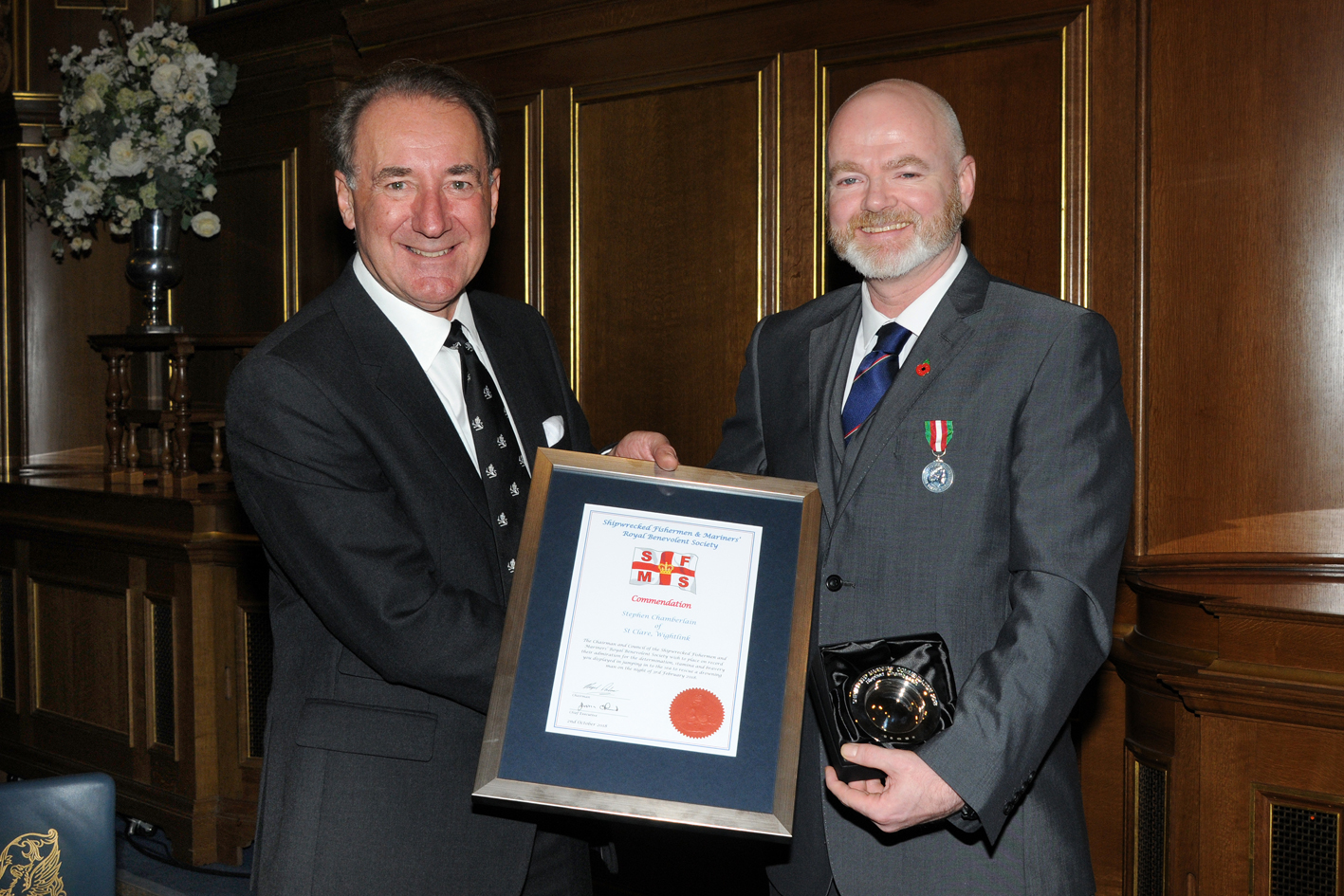 Steve Chamberlain with Admiral Sir George Zambellas of the Shipwrecked Fishermen and Mariners' Royal Benevolent Society