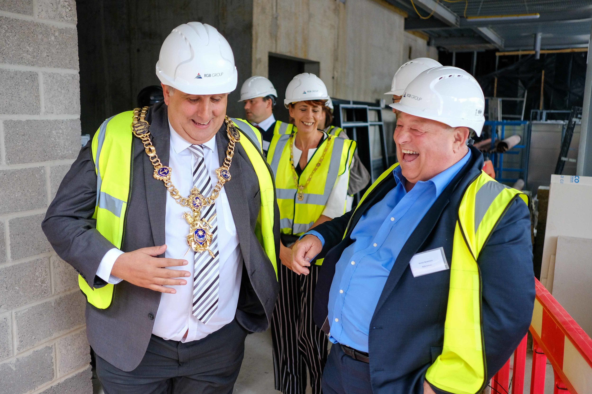 The ceremony was conducted by David Fuller - The Lord Mayor Of Portsmouth. Here he is with Richie Newsham, the Construction Director at RGB Grou