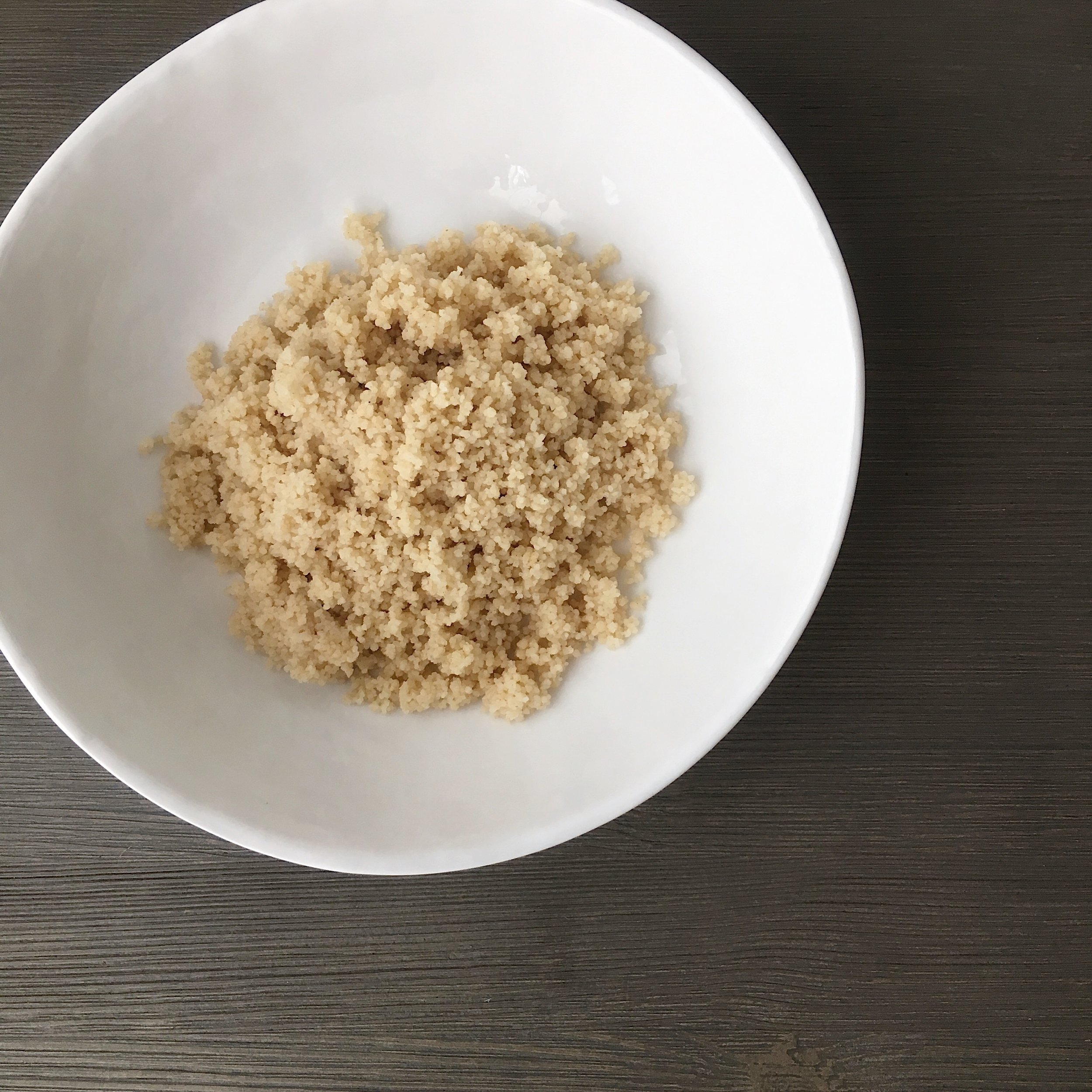 1. Select your base - I used whole wheat couscous. Steel-cut oatmeal, barley, quinoa or farro work work equally as well.