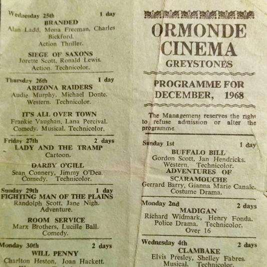 Ormonde Cinema Greystones Programme, 1968