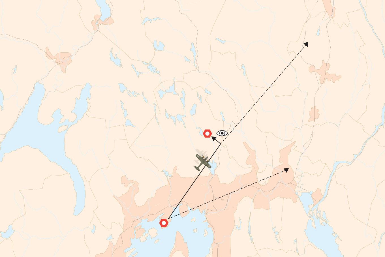 Flyruten. Målet for turen kan ha vært Gardermoen, som tyskerne tok i bruk i slutten av mai 1940. Eller Kjeller flyplass der tyskerne hadde sitt hovedverksted.