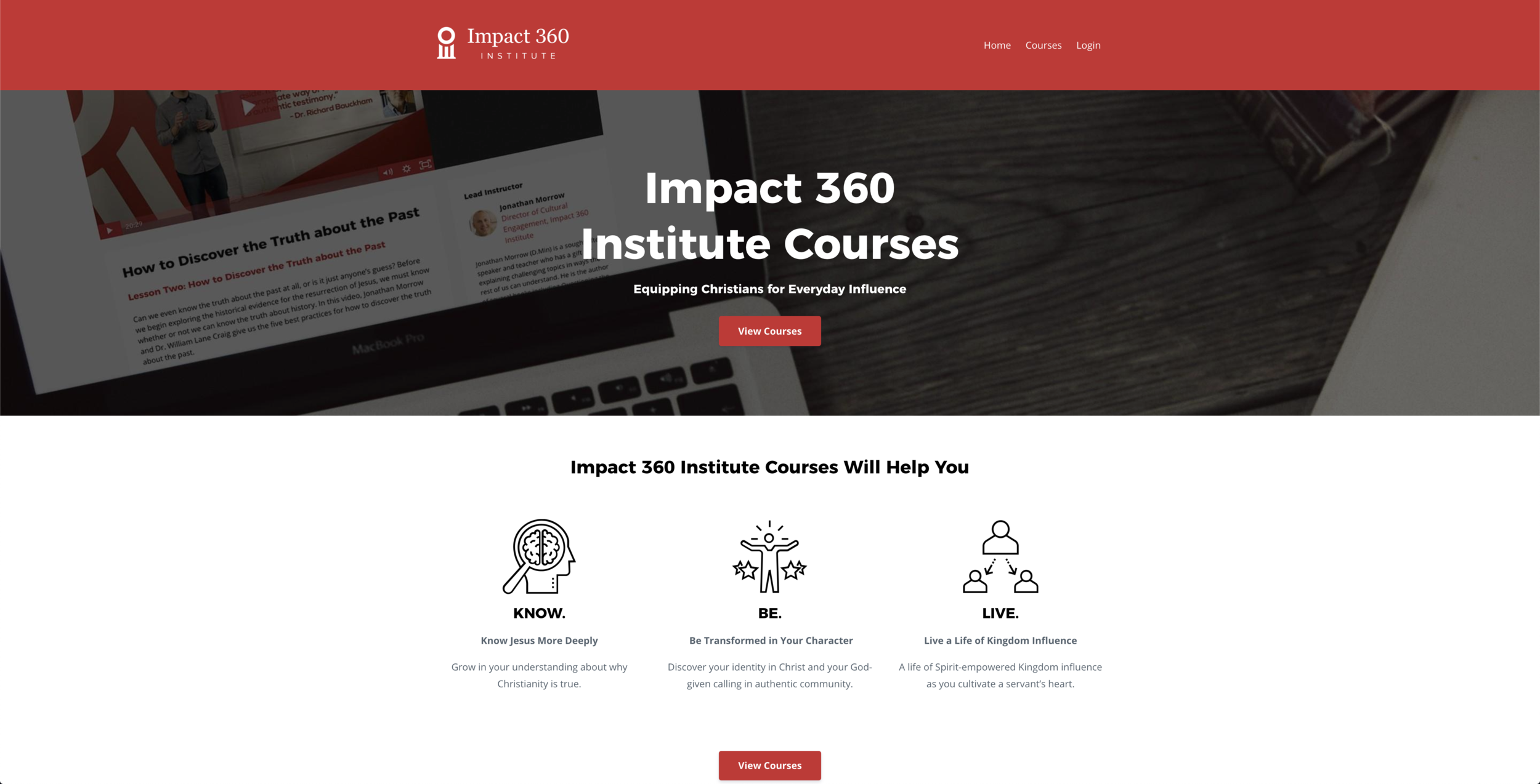 Impact 360 Institute Course's Homepage