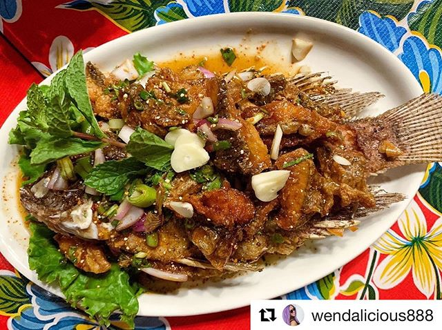 Larb Pla is fried deboned whole fish tossed in a tangy dressing. One of @wendalicious888 fave dishes since the first time last year she came with @nigelsie and it's been consistently amazing.  #hugesan we're thankful that you enjoy with our food  #esanfood  #isanfood  #thaifood  #laosfood  #vietnamesefood #asiancuisine #asiafood #foodie #nycfood #nycdining #nycliving #nyc  #nyclife #nycfoodie #foodlover  #nyceats #nycrestaurants  #nytimescooking #nytimesfood #nytimes #nyc #foodie #yelp #yelpeatsnyc #yelpelite #yelpreview