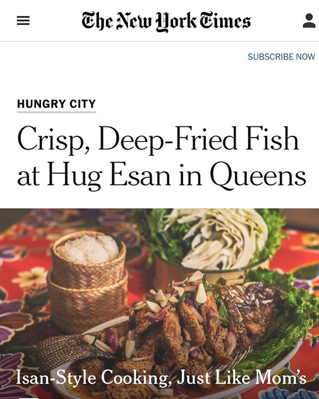 Hug Esan in The New York Times @nytimes by @mariantoro for the amazing article and the great photo by @anrizzy We would like to say thank you and we're so appreciate this. Thank you ❤️❤️❤️ for full article link in bio.  #esanfood  #isanfood  #thaifood  #laosfood  #vietnamesefood #asiancuisine #asiafood #foodie #nycfood #nycdining #nycliving #nyc  #nyclife #nycfoodie #foodlover  #nyceats #nycrestaurants  #nytimescooking #nytimesfood #nytimes #nyc #foodie #yelp #yelpeatsnyc #yelpelite #yelpreview