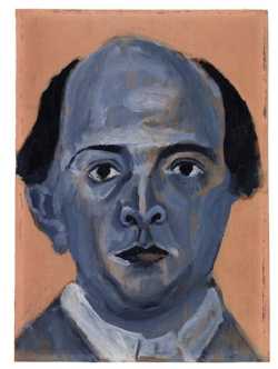 """""""Blue Self-Portrait"""" by Arnold Schoenberger. 1910. Oil on three-ply panel."""