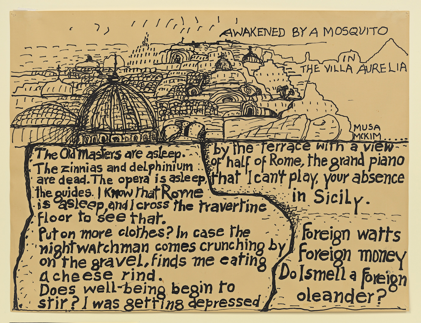 """Philip Guston, """"Awakened by a Mosquito"""", circa 1972-1975, collaborative poem-picture with wife Musa McKim, ink on paper. Photo by Genevieve Hanson."""
