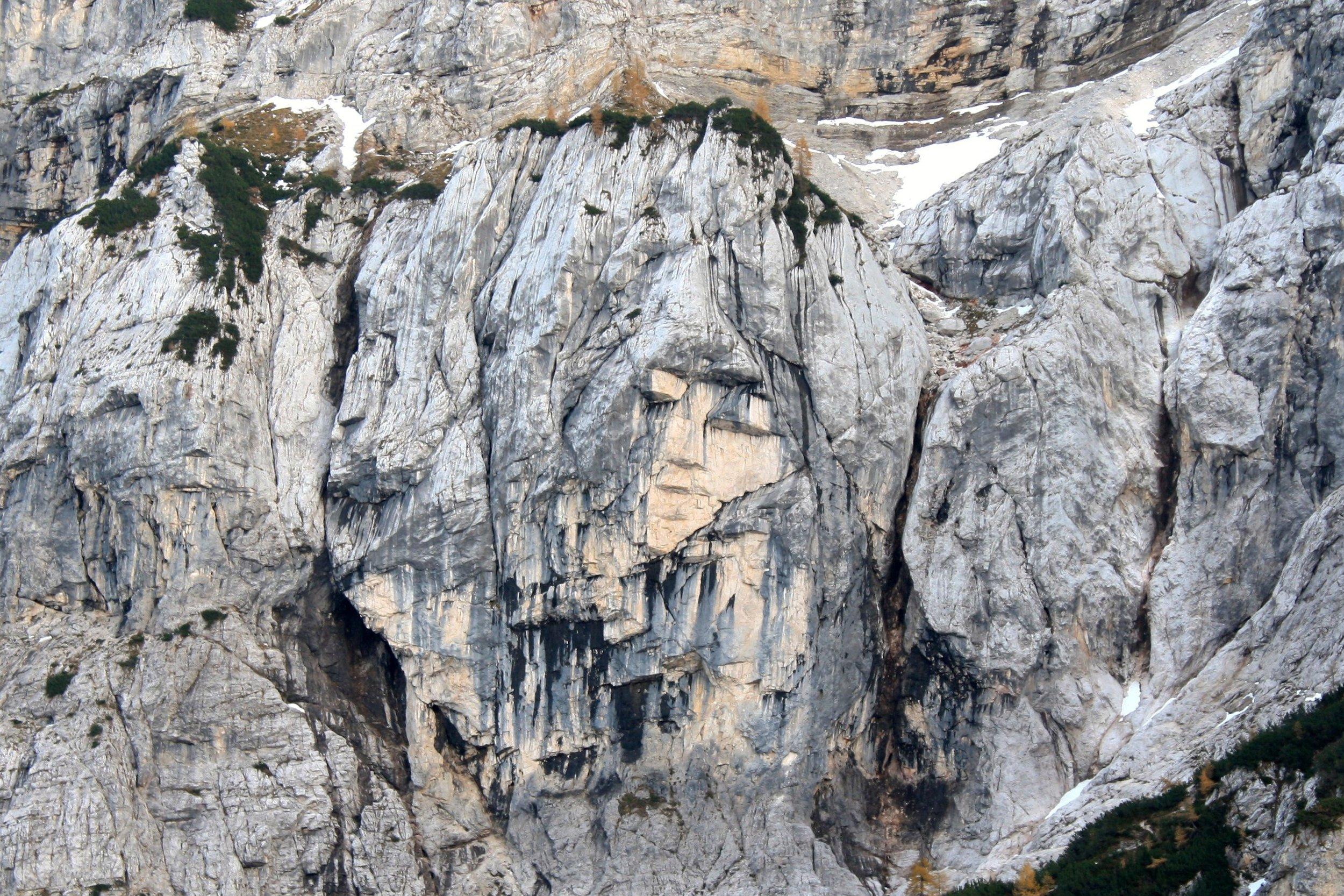 The Heathen Maiden, a rock formation near Kranjska Gora, in the Julian Alps of Slovenia