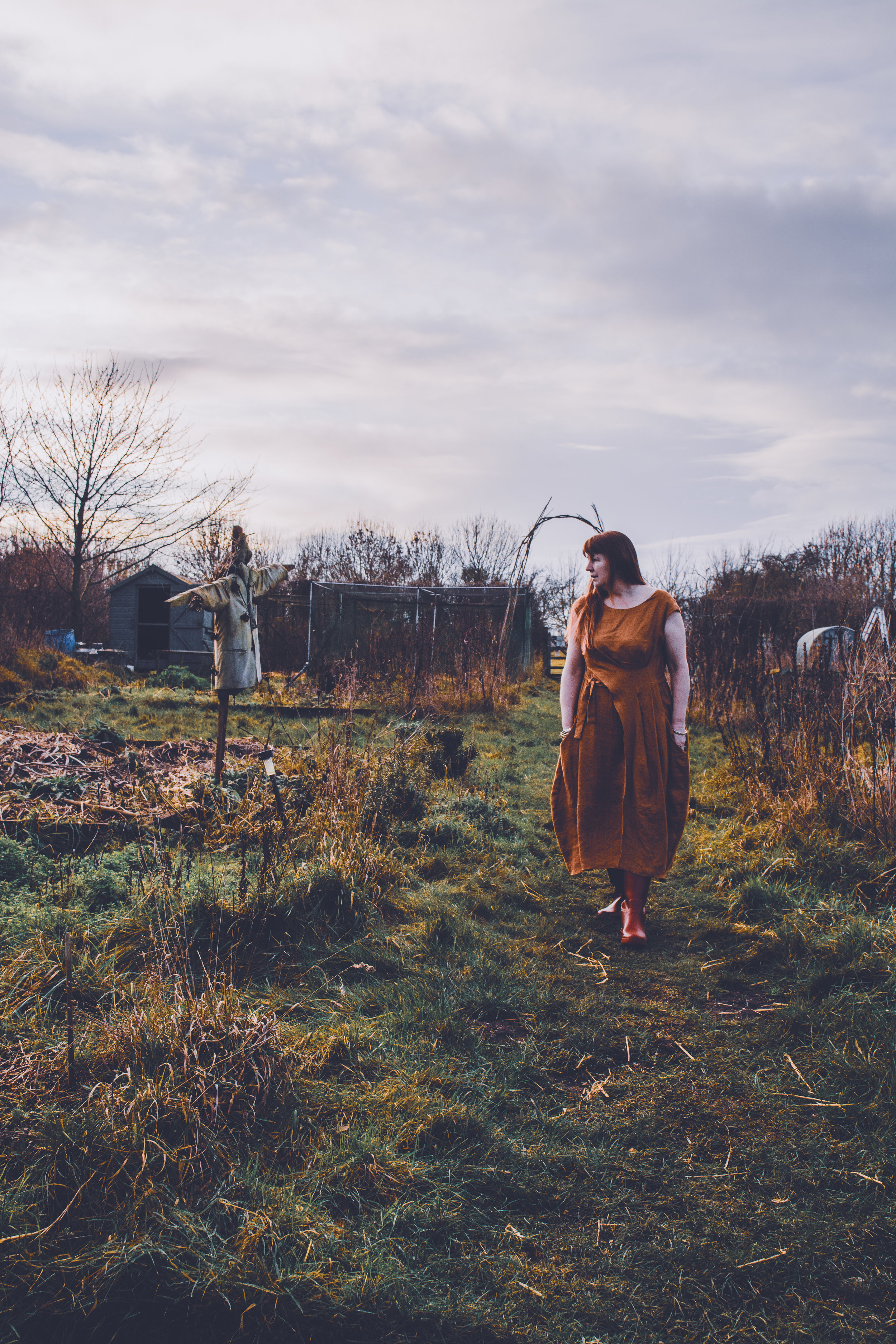 Mum in the veg plot in her  New Fold Dress  in Rust.