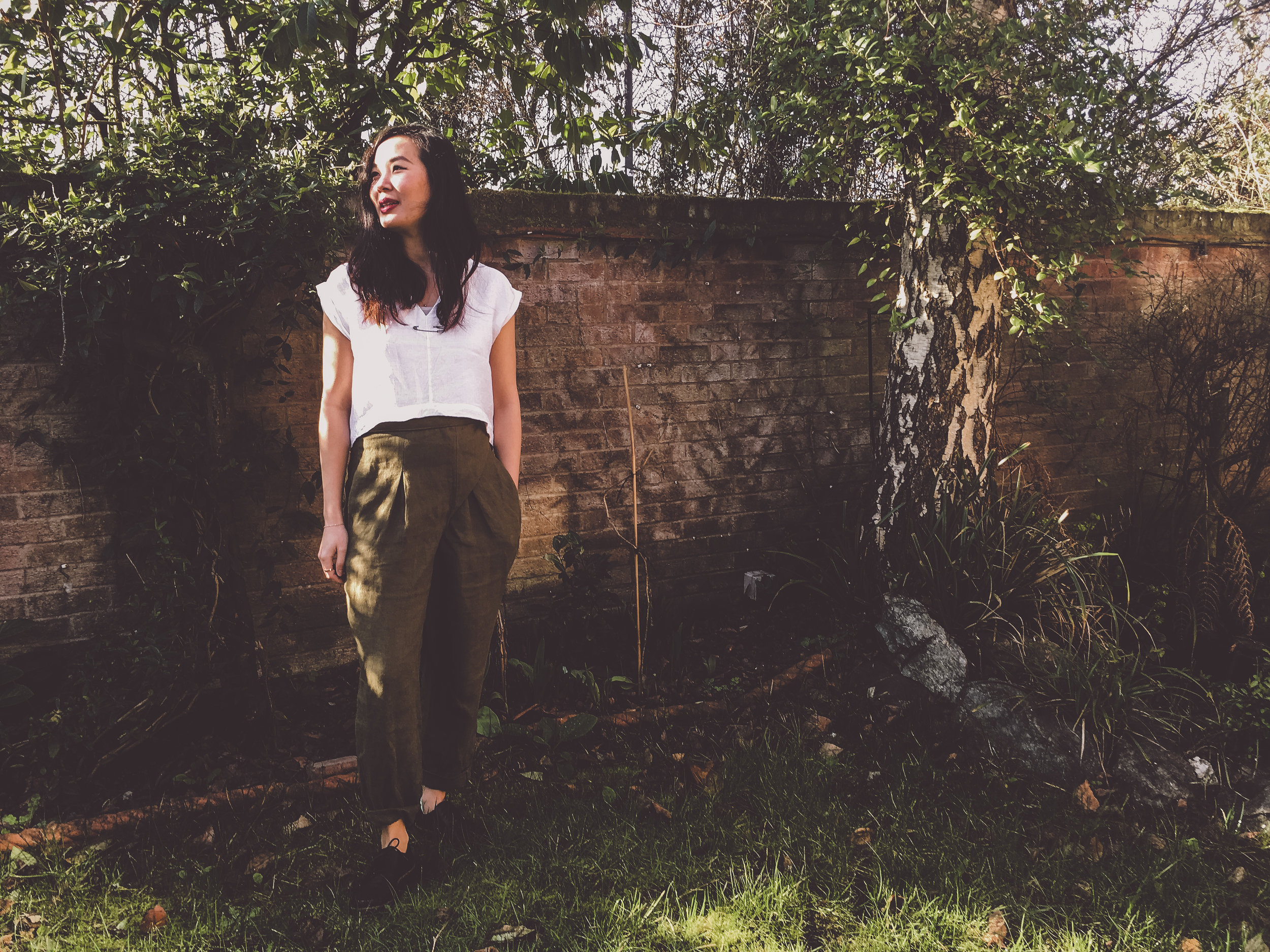 Neera in the Shard Shirt and  Wrap Trousers  in Sage. Photographed by Rosy on her phone - you don't need a fancy camera to take part in #wanderingflint!