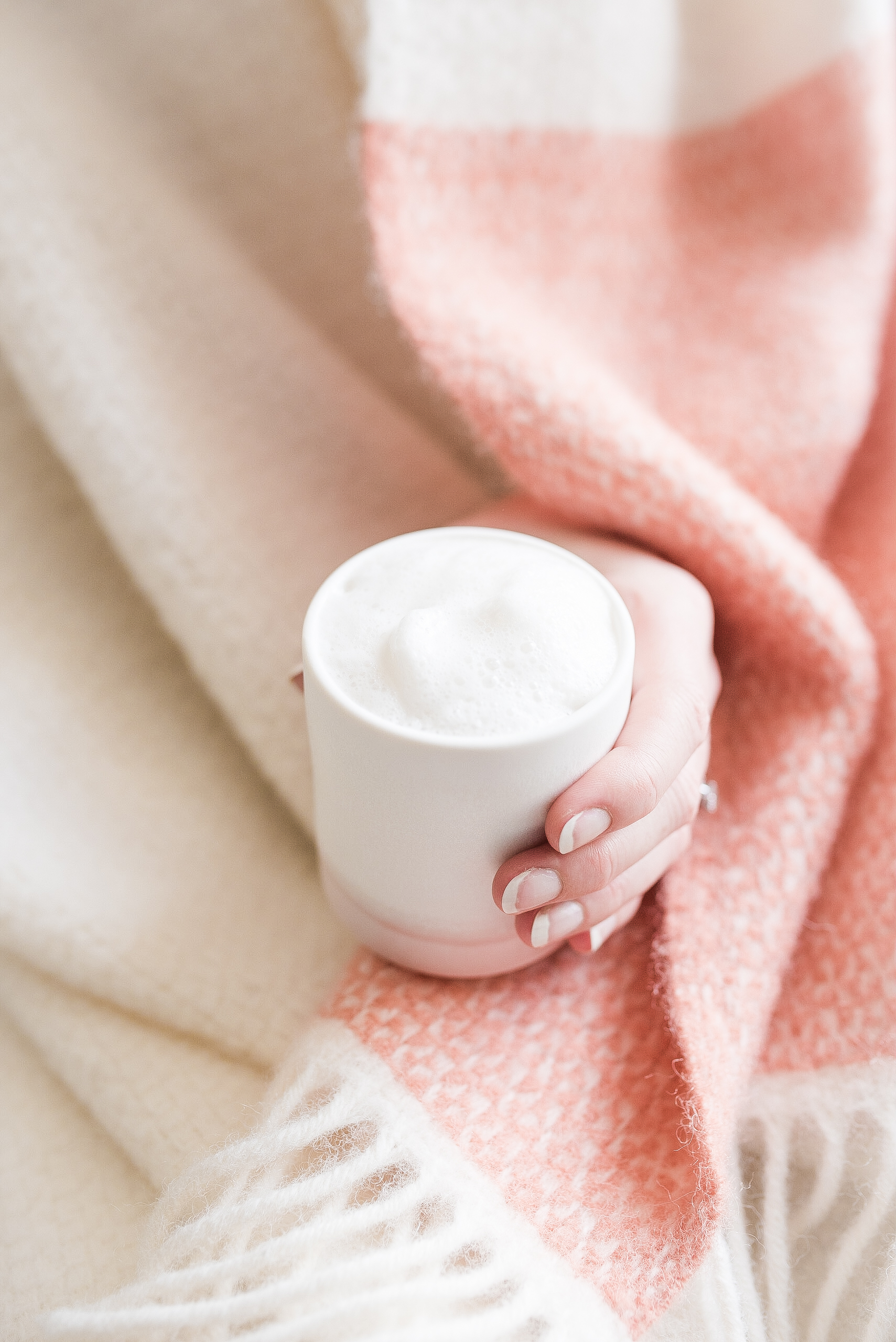 Our hand-made coffee cup in blush and 100% lambswool blanket in peaches and cream are both available from our new shop.  Click here to browse..