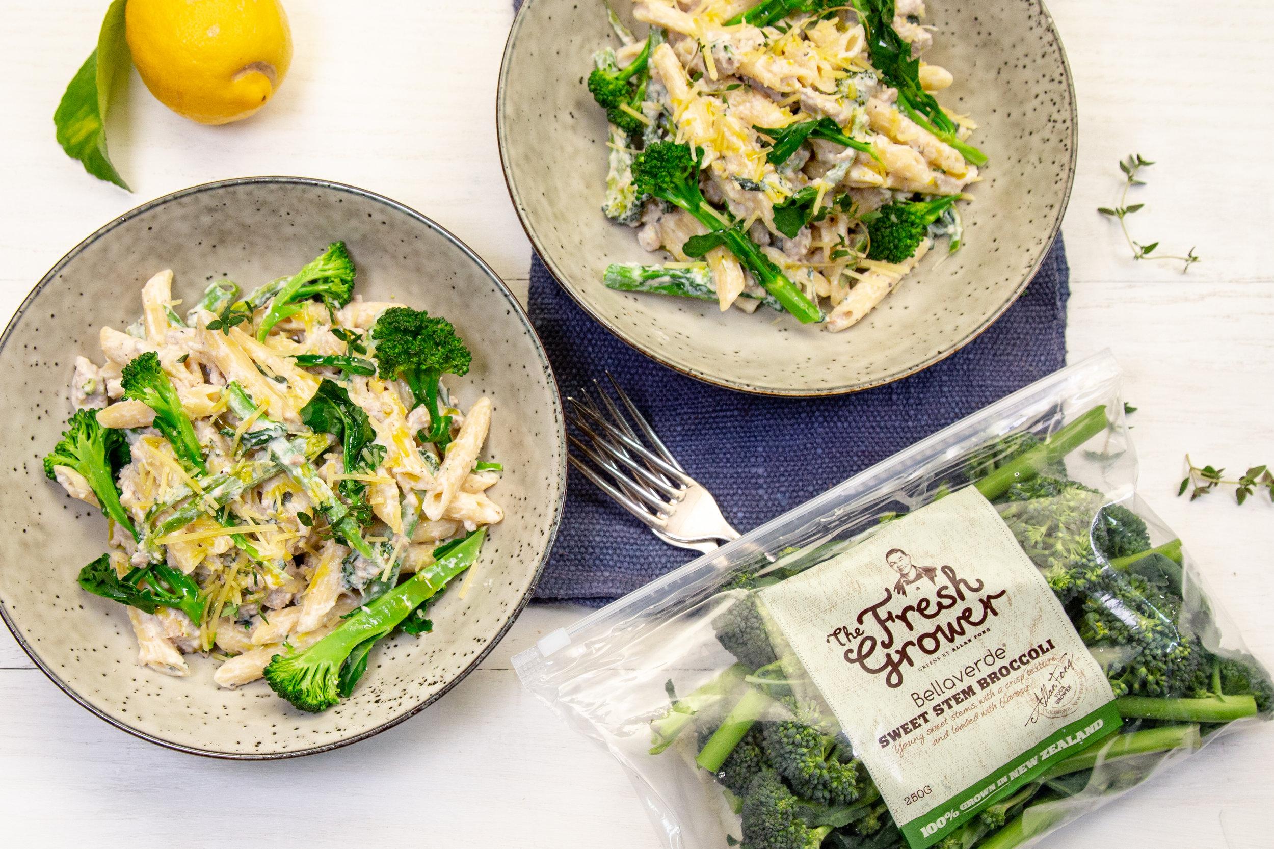 Penne with broccolini, pork sausage, lemon zest and ricotta