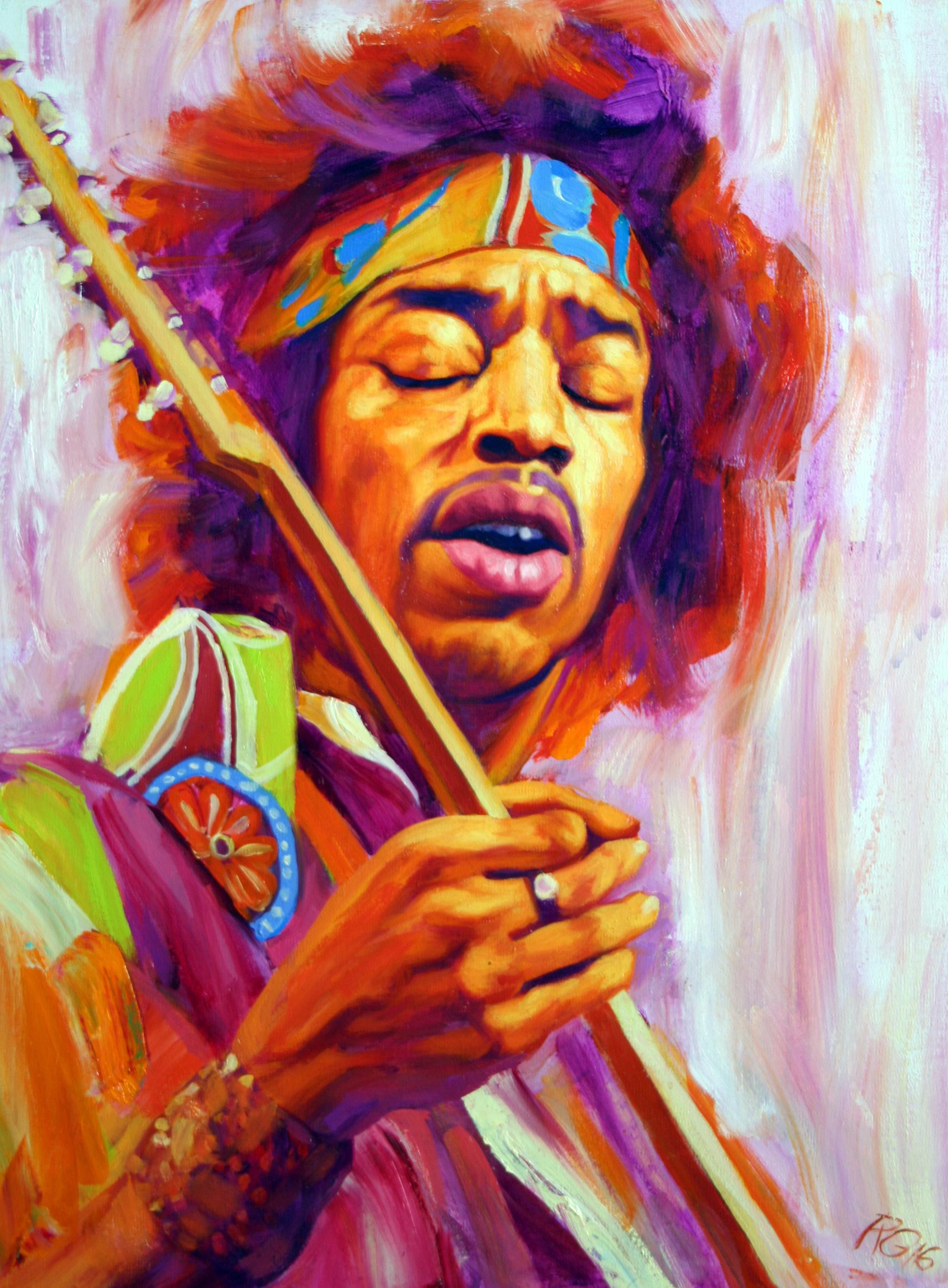 'Jimi, Voodoo Child'    Original Oil on Canvas.  Available as a Limited Edition Print on Canvas. Hand signed and numbered by the artist.