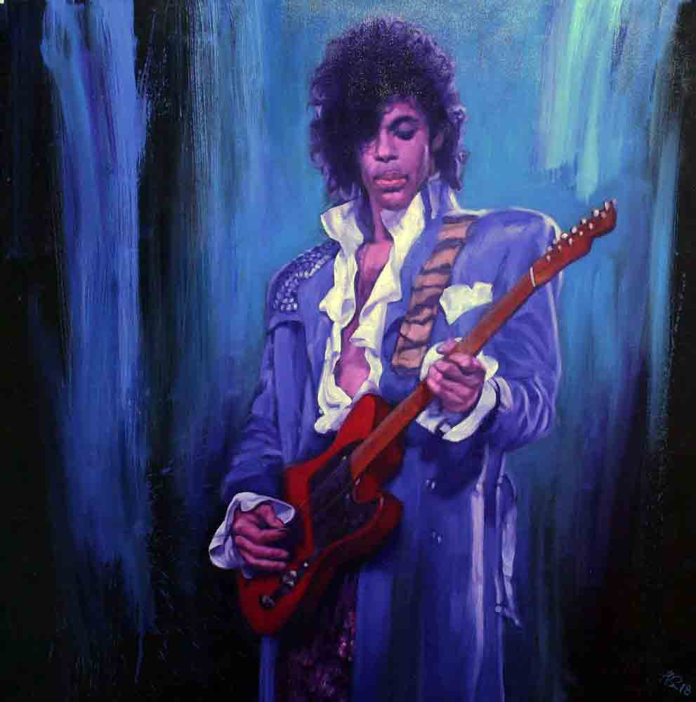 'Prince, The Purple One'    Original Oil on Canvas  Also available as a Limited Edition Print on Canvas. Hand signed and numbered by the artist.