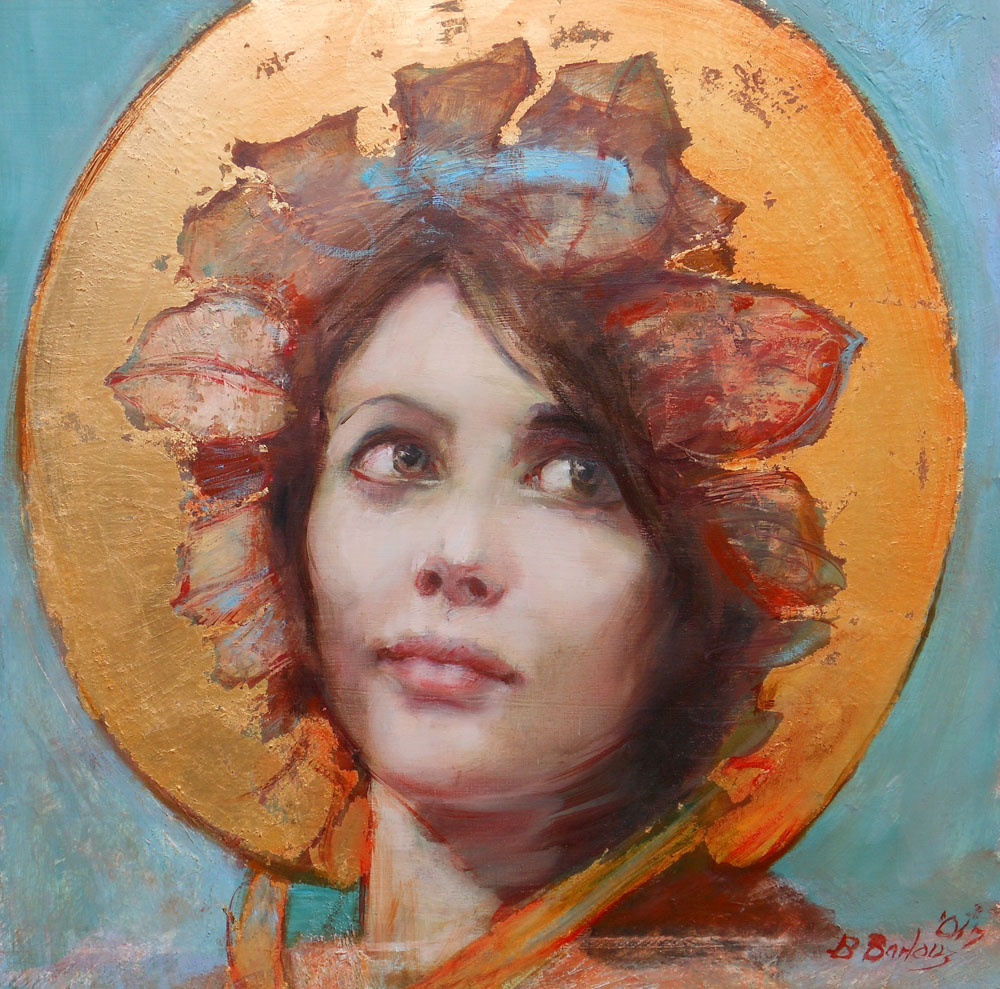 'Tasha in Gold'    Original Oil on Board with Mixed Media