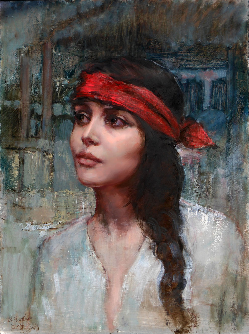 'Red Bandana'    Original Oil on Canvas