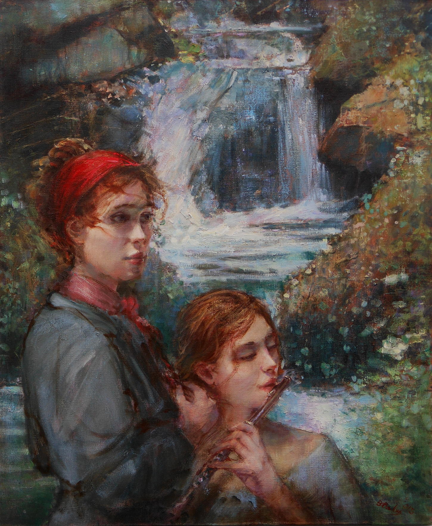 'Sisters of the Falls'  Original Oil on Canvas