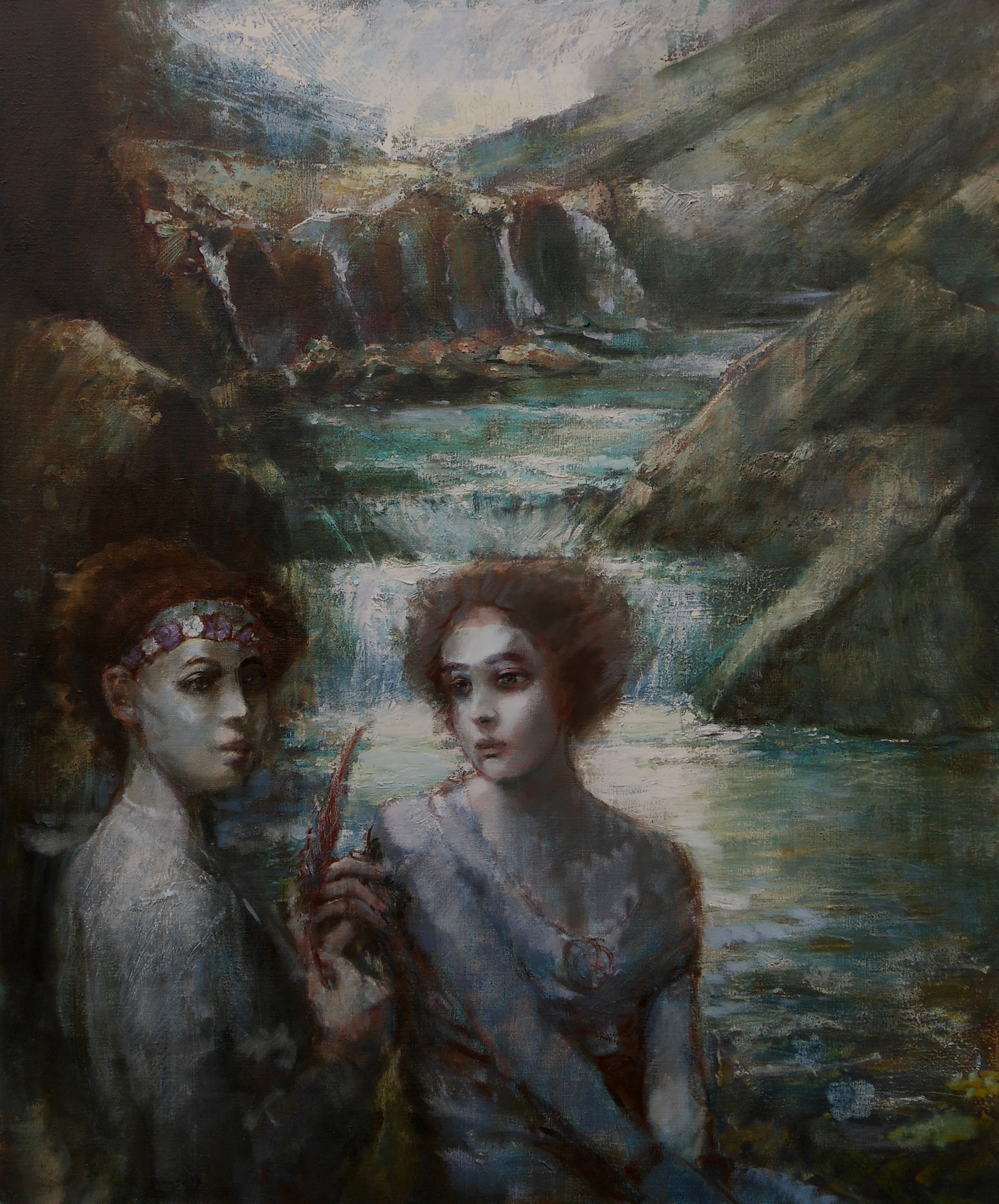 'Sprites by the Stream'    Original Oil on Canvas