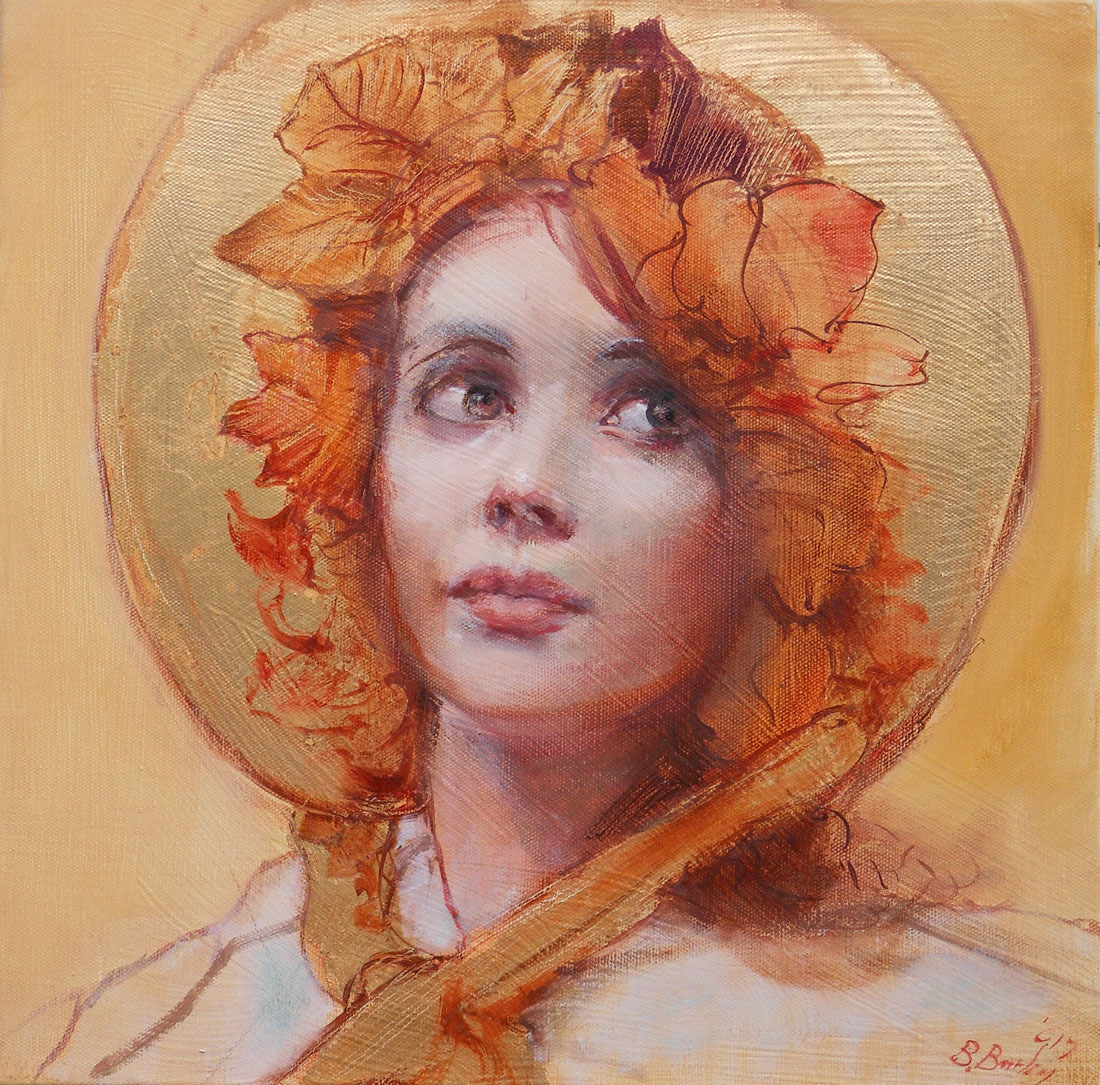 'Tasha in Gold (Study)'    Original Oil on Board with Mixed Media