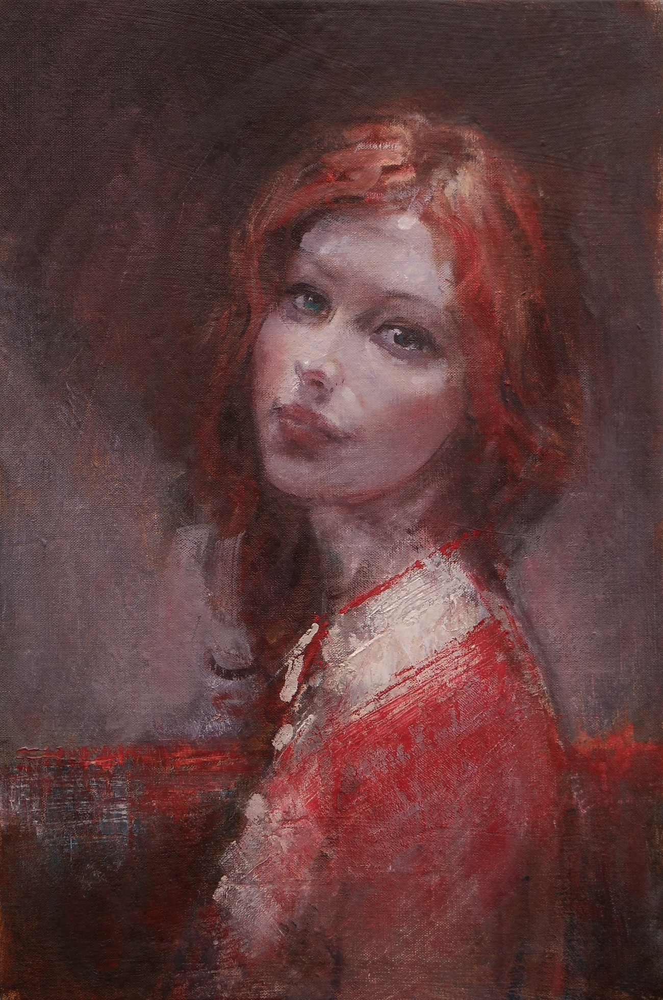 'Woman in Red'    Original Oil on Canvas