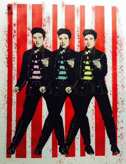 'Elvis'  Hand-Sprayed Limited Edition Print.  Available in Red, Orange, Purple, Blue & Green Colourways.