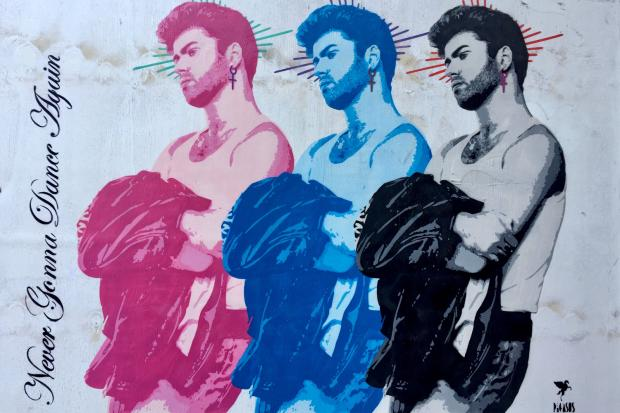 'George, Never Gonna Dance Again'    Hand-Sprayed, Hand Embellished Original Work on Board.