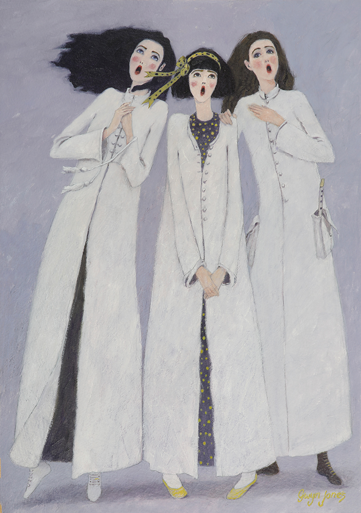 'Three Little Maids'    Original Oil on Board, Now Sold.  Also available as a Limited Edition Giclee Print on Paper. Hand signed and numbered by the artist.