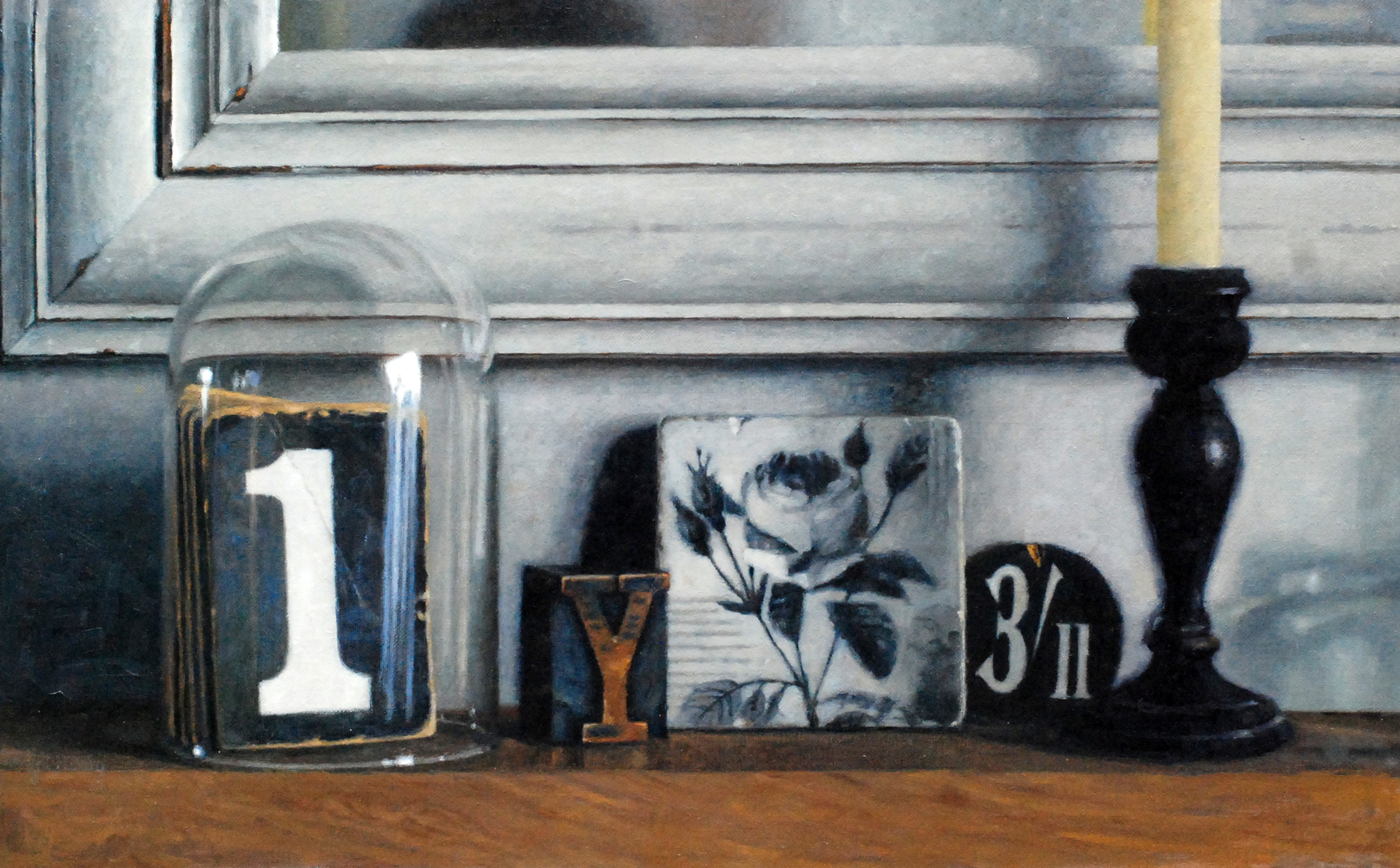 """'Still 'Life with Number One'    Acrylic On Board Mounted Linen, 10"""" x 7"""""""