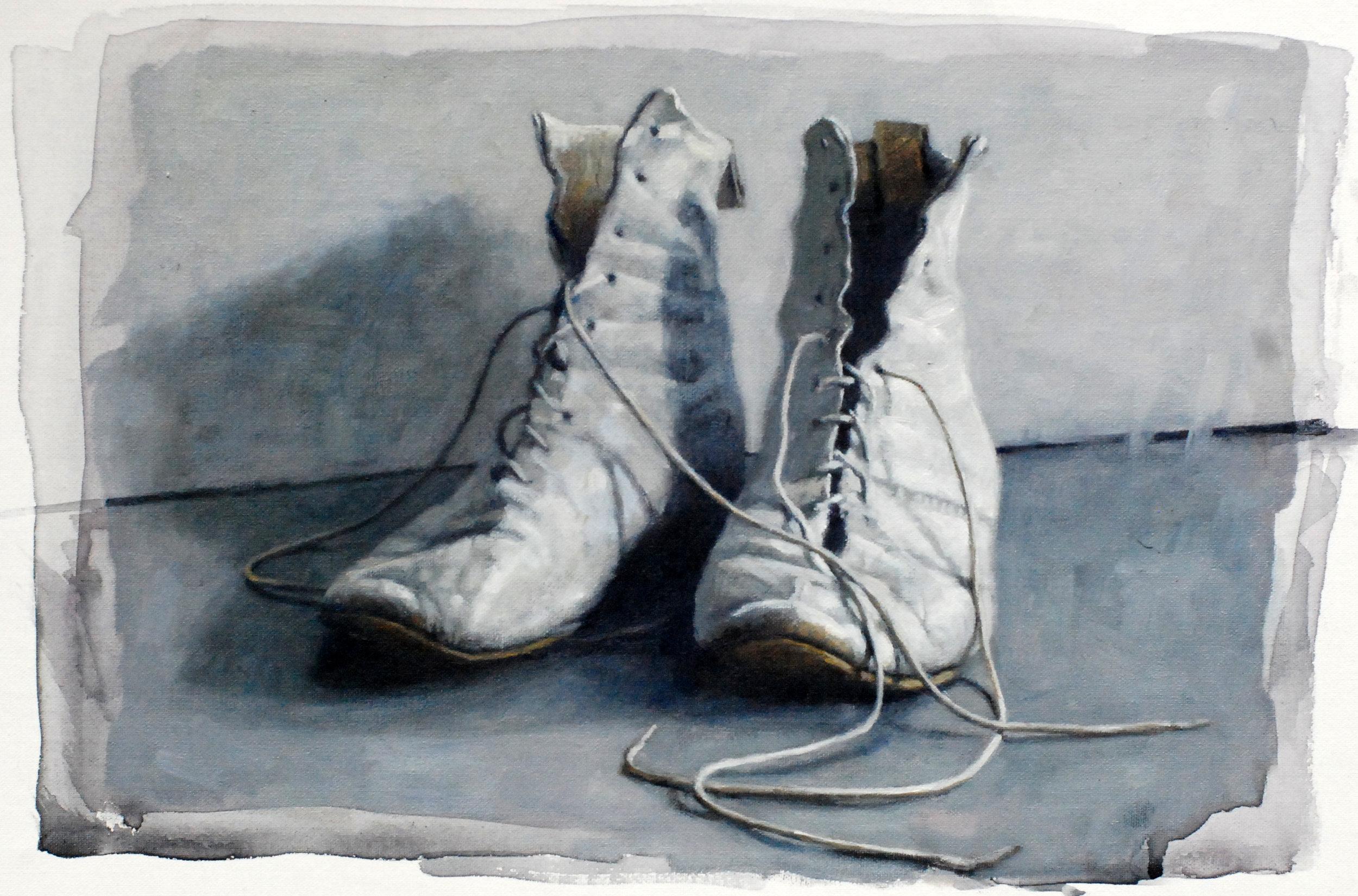 """'Dance Shoes'    Acrylic On Board Mounted Linen, 10"""" x 7"""""""