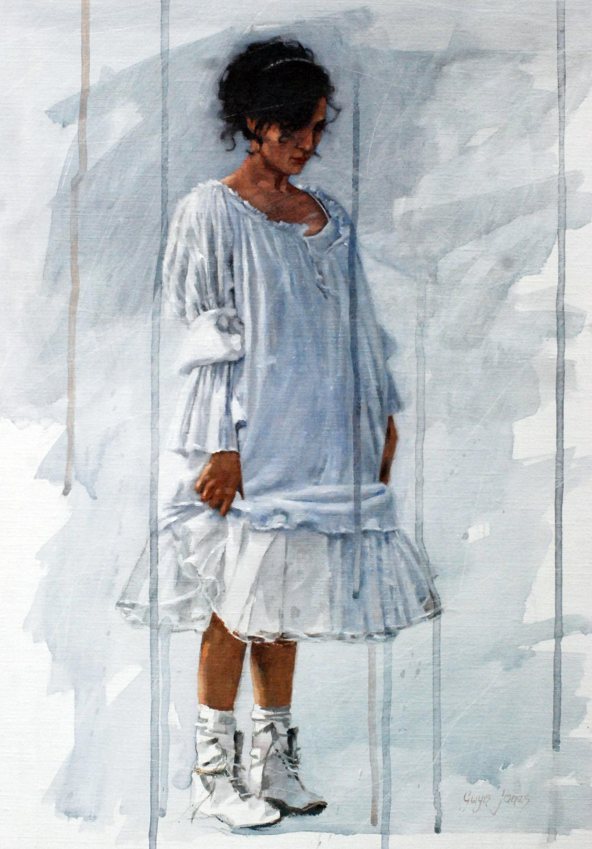 """'Blue Girl'    Acrylic On Board Mounted Linen, 17.5"""" x 1""""4"""""""