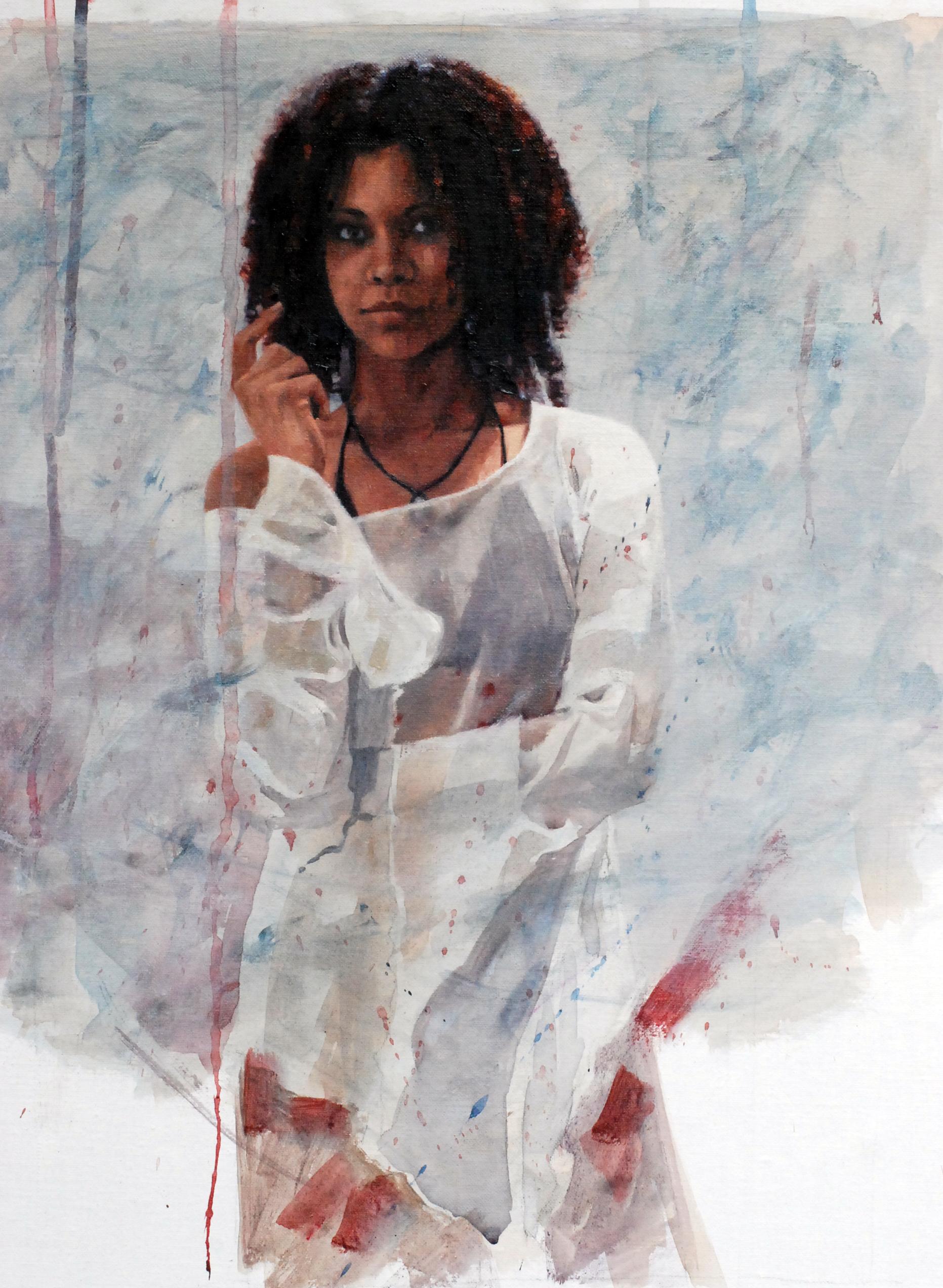 "'Framing of Secrets'    Acrylic On Board Mounted Linen, 20"" x 14"""