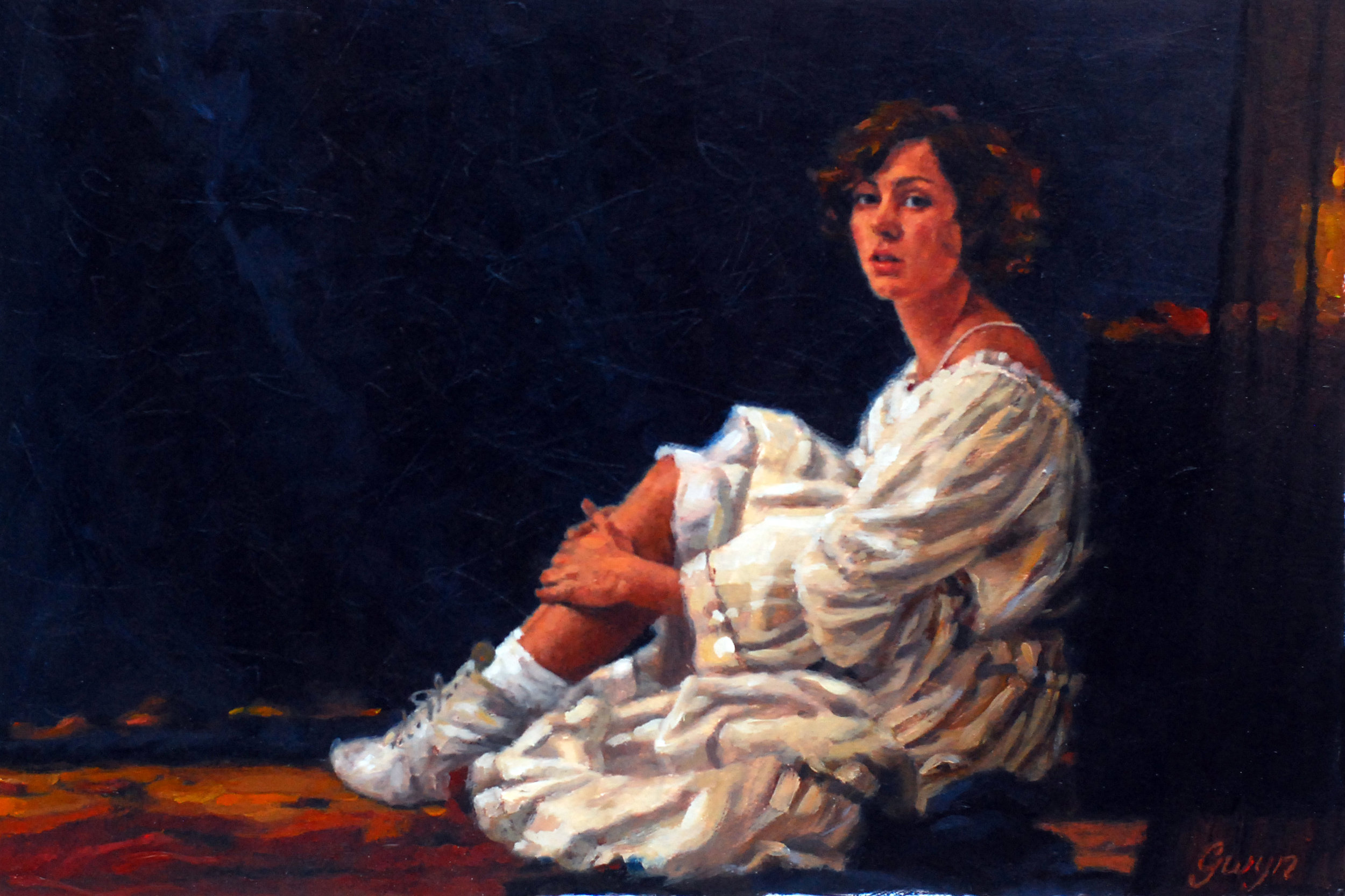 """'Lucy by Candlelight'    Oil On Board, 24"""" x 36"""""""