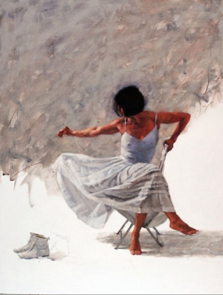 """'Jay & Her Boots'    Oil On Board, 18"""" x 14"""""""