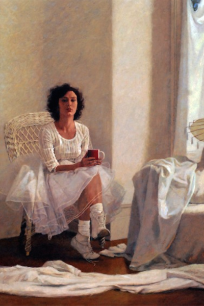 """'Lucy in The White Room'    Oil On Board, 36"""" x 24"""""""