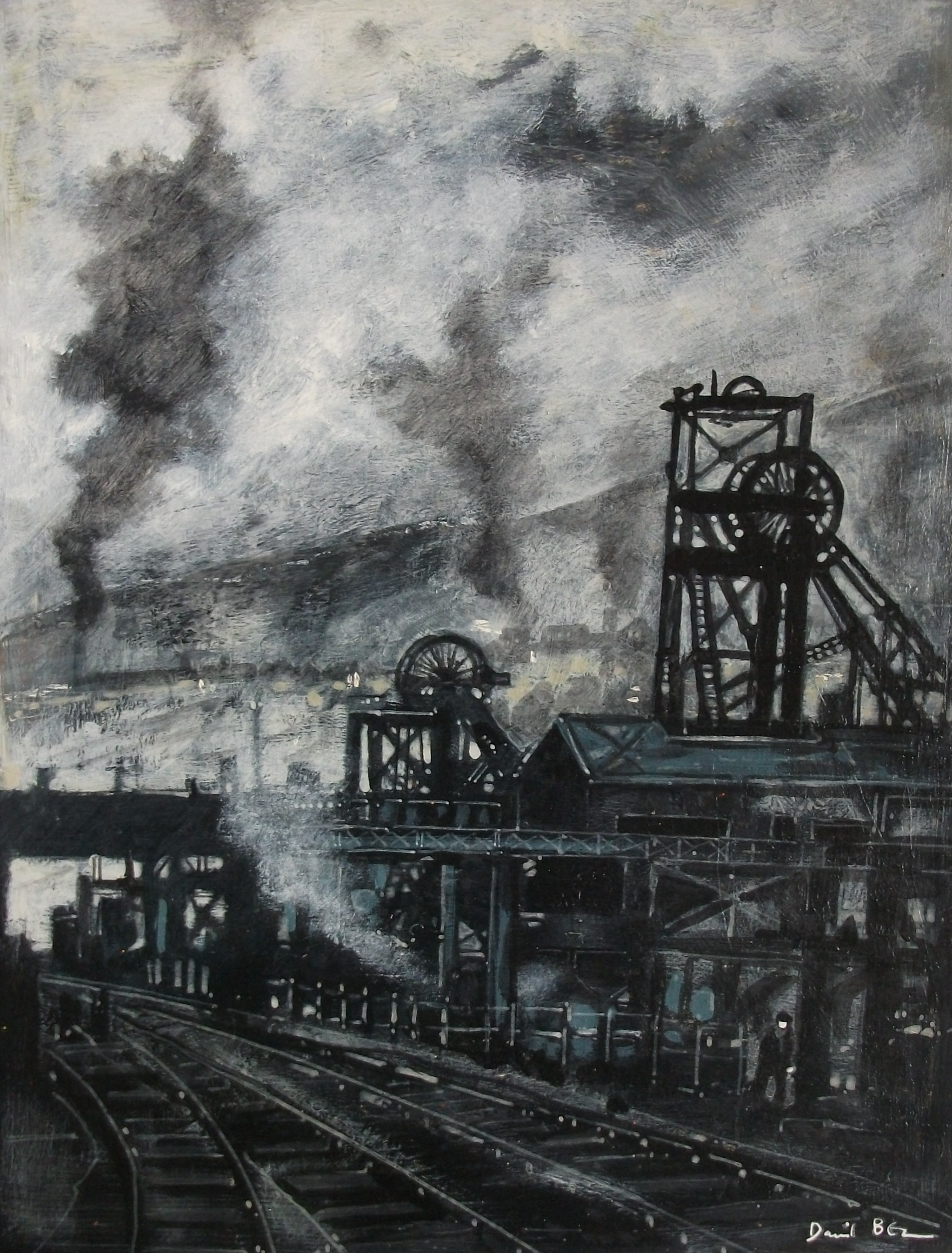 """'Colliery' ,  Code no. 555   Acrylics & Mixed Media on Paper with Oil Glazing, 17"""" x 13"""""""
