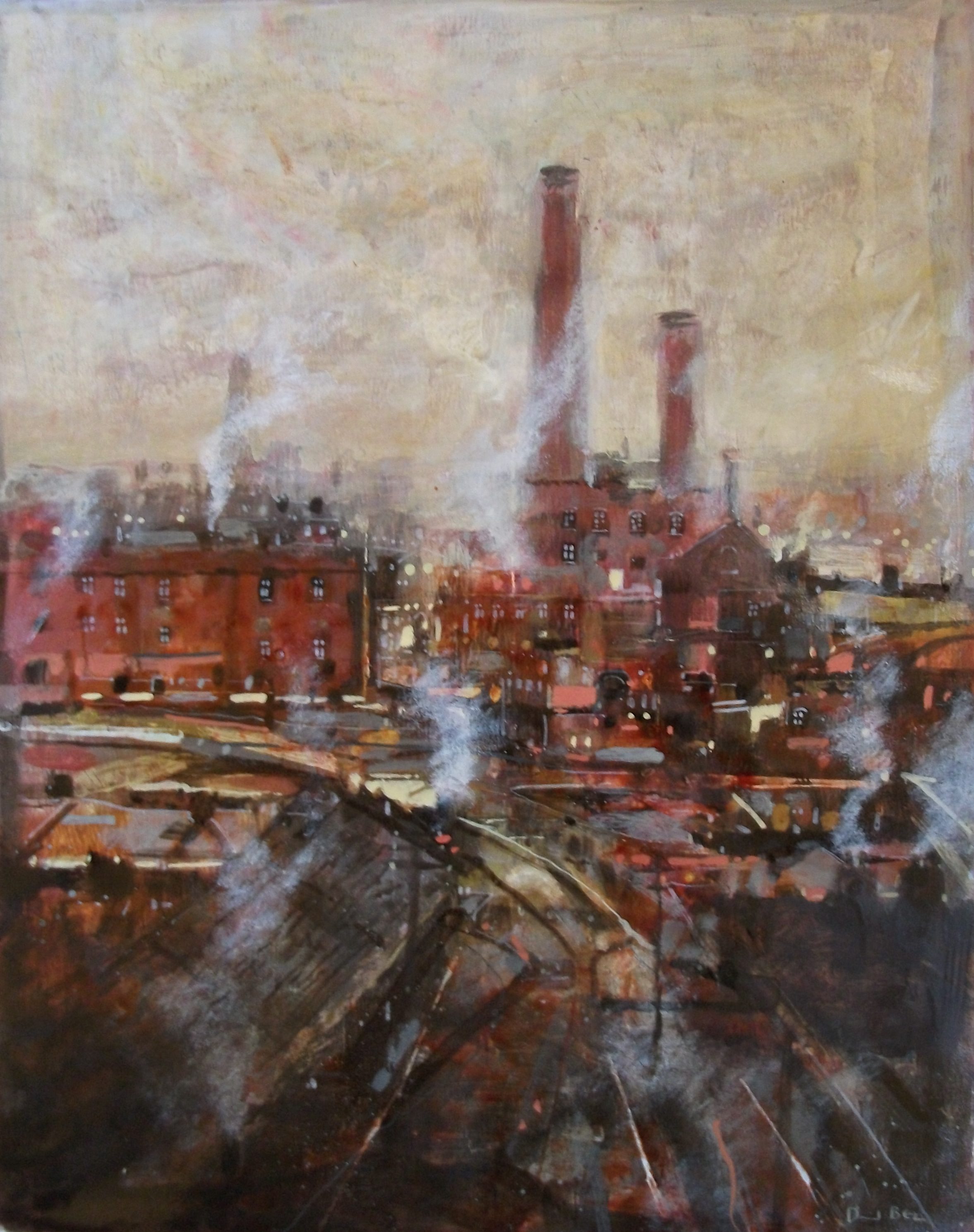 """'Mill Scene 3' ,  Code no. 2785   Acrylics & Mixed Media on Paper with Oil Glazing, 19"""" x 14"""""""